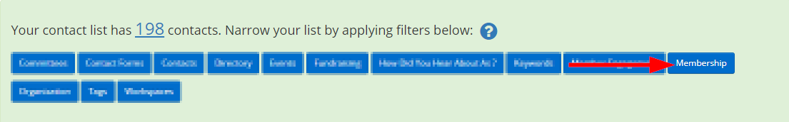 Image showing the filter set when building a list, indicating the button for 'Membership'.