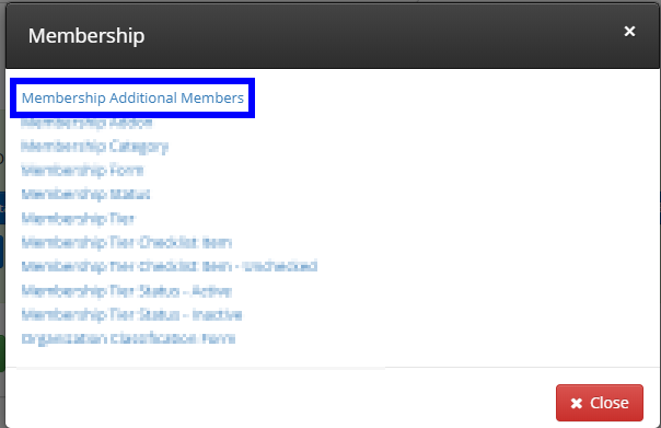 Image showing the list of options upon choosing the Membership filter, and indicating 'Membership Additional Members'