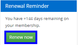 Image showing a badge on the Member Portal where the Member can click 'Renew Now'