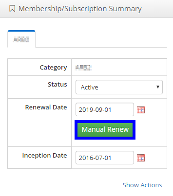 Image showing a sample Membership/Subscription Summary area, with the 'Manually Renew' button available.