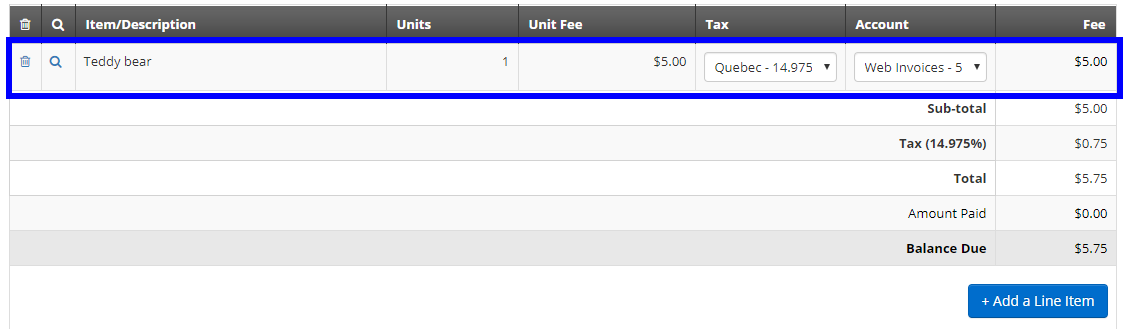 Image showing an invoice with our 'Teddy Bear' Store Product added as a line item.