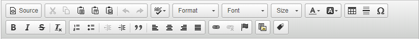 Image showing the series of options/settings that appear above a text area editor.