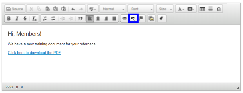 Image showing that the 'Click here to download the PDF' text is now a link to the file we've updated. There is also a box indicating the Unlink icon.