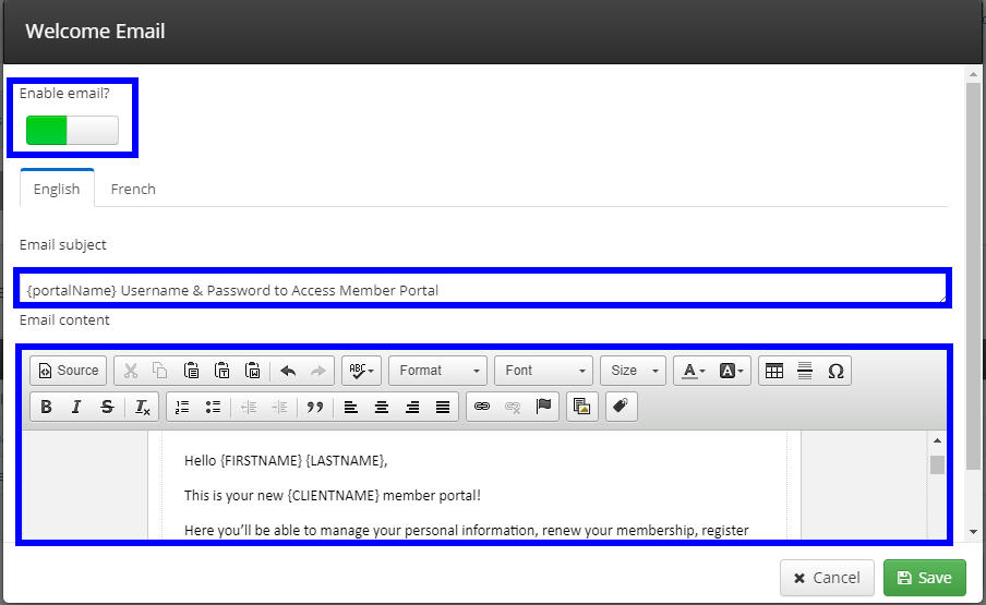 Image showing the screen to edit a sample Welcome Email.