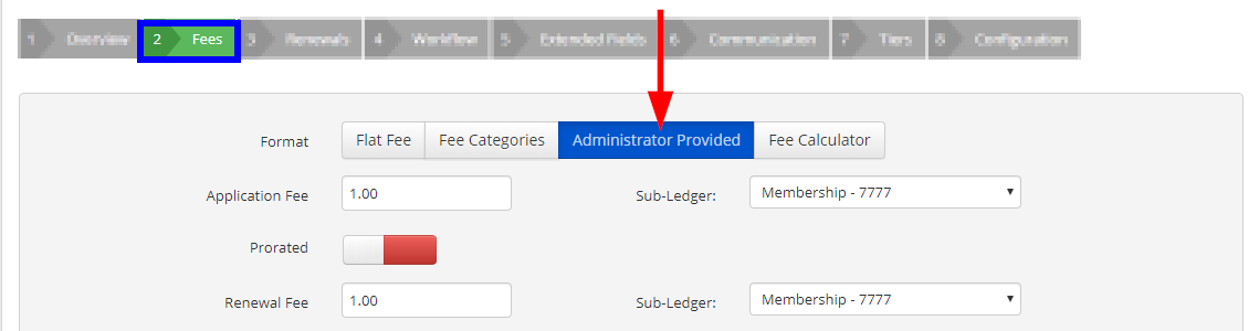 Image showing the 'Fees' tab of a sample Membership Category, indicating that we're using the 'Administrator Provided' Fee Format.