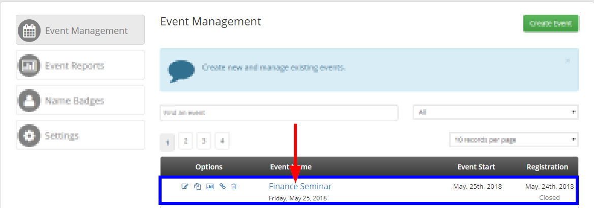 Image indicating the name of a sample Event, 'Financial Seminar', from the list of Events on the Event Management page.