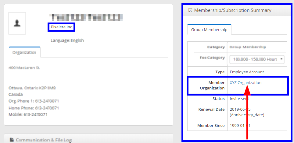 Image showing a sample Contact Record. Under 'Membership/Subscription Summary' the Member is an Employee Account under a Group Membership with 'XYZ Organization'. The Contact's own Organization, however, is 'Pixelera Inc.' which is unrelated to the Group Membership.