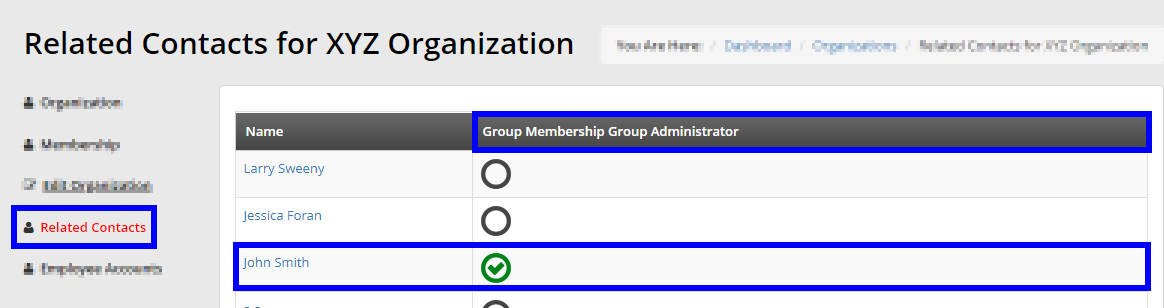 Image looking at the 'Related Contacts' for XYZ Organization. We see John Smith has a green check-mark beside their name, indicating they are the Primary Contact.