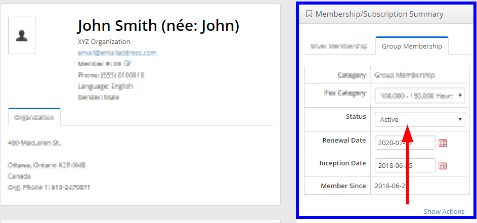 Image showing the Contact Record of 'John Smith' of XYZ Organization, showing that they have an Active Group Membership.