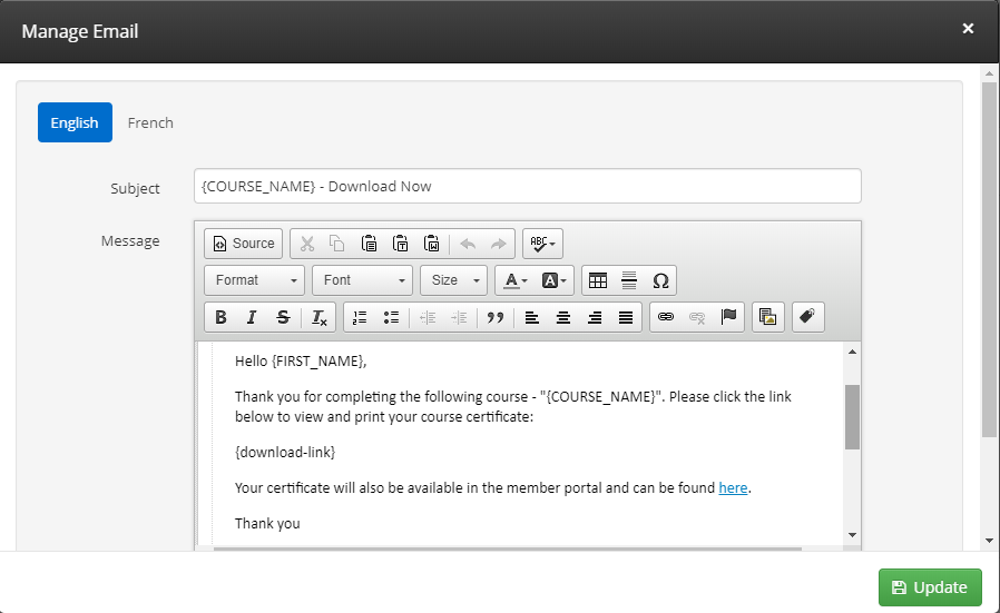 Image showing a sample template for the email containing a LMS Certificate download link.