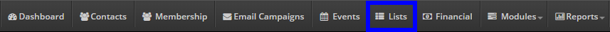 Image indicating the 'Lists' button from the bar at the top of the Administrator Dashboard.