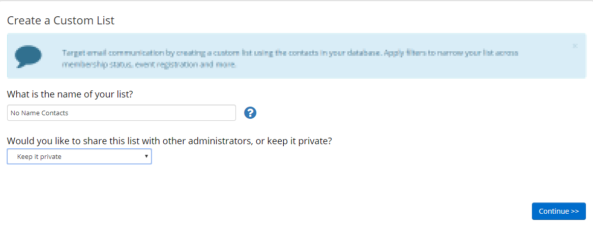 Image showing that we named our list 'No Name Contacts' and that we are keeping it private.
