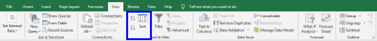 Image indicating the 'Data' tab and the 'Sort' button from within Excel.